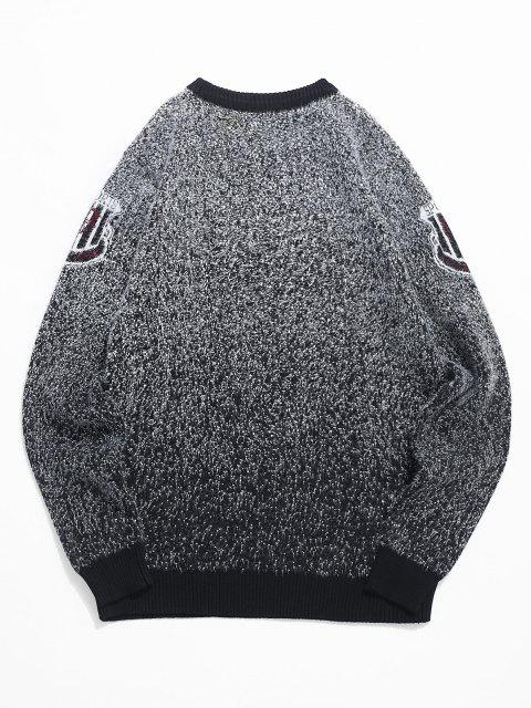 lady Fuzzy Knit Speckled Graphic Ribbed Hem Sweater - BLACK XS Mobile