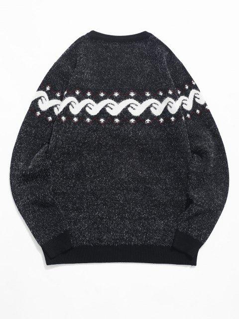 women Fuzzy Graphic Ribbed Hem Knitted Jumper Sweater - BLACK M Mobile