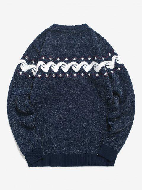 latest Fuzzy Graphic Ribbed Hem Knitted Jumper Sweater - CADETBLUE XS Mobile