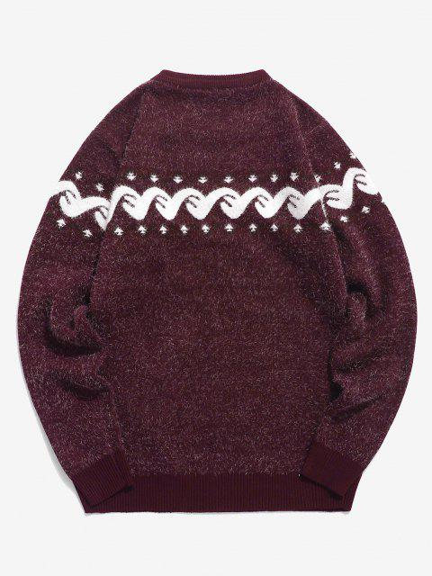 ladies Fuzzy Graphic Ribbed Hem Knitted Jumper Sweater - RED WINE XS Mobile