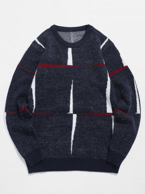 chic Crew Neck Fuzzy Graphic Sweater - CADETBLUE S Mobile