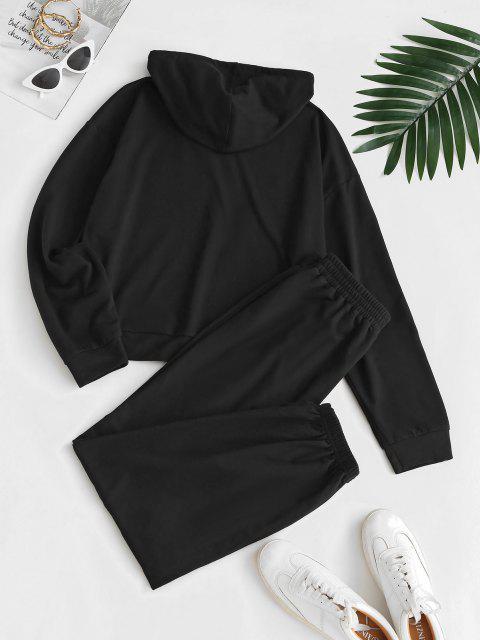 women's ZAFUL Angel Print Renaissance Art Hoodie Pants Set - BLACK S Mobile