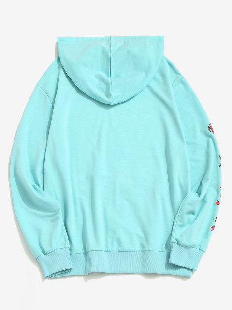 new Kangaroo Pocket Flower Print Graphic Hoodie - LIGHT BLUE S Mobile