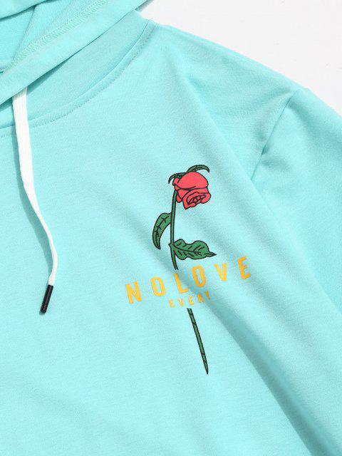 Sweat à Capuche Graphique Fleur Imprimée avec Poche Kangourou - Bleu Léger  2XL Mobile