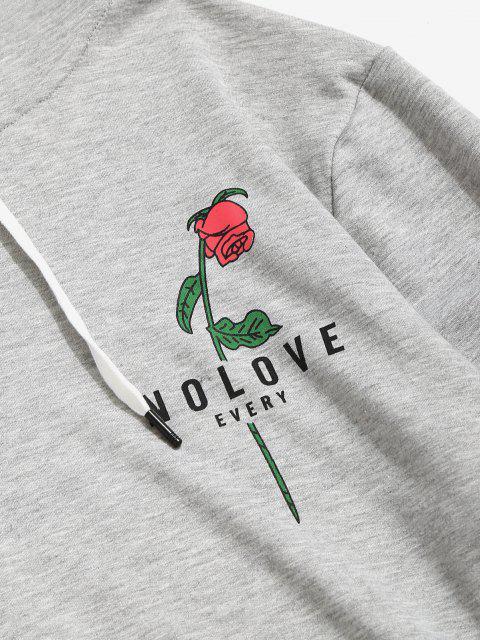 Sweat à Capuche Graphique Fleur Imprimée avec Poche Kangourou - Gris Clair S Mobile
