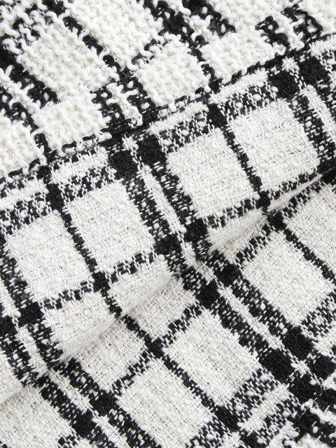 new ZAFUL Plaid Mini Tweed Skirt - WHITE M Mobile
