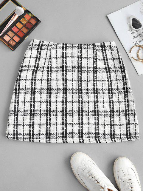 ZAFUL Kariertes Mini Tweed Rock - Weiß XL Mobile