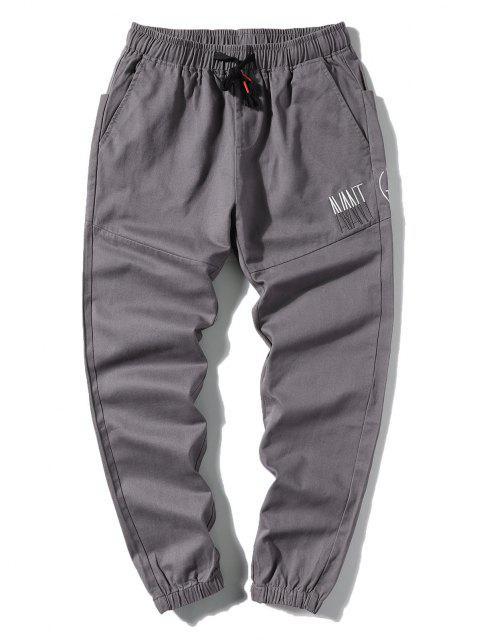 Pantalones Letra Bordada Elástica - Gris Oscuro L Mobile