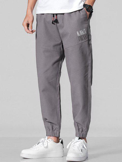 Pantalones Letra Bordada Elástica - Gris Oscuro M Mobile