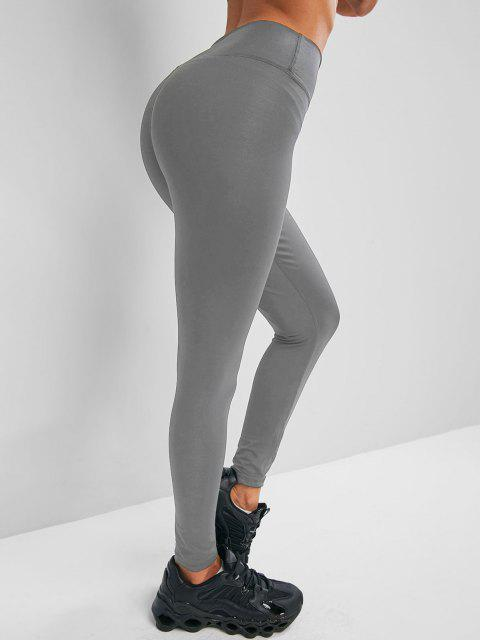 outfits Solid Stitching High Waisted Sports Leggings - GRAY L Mobile