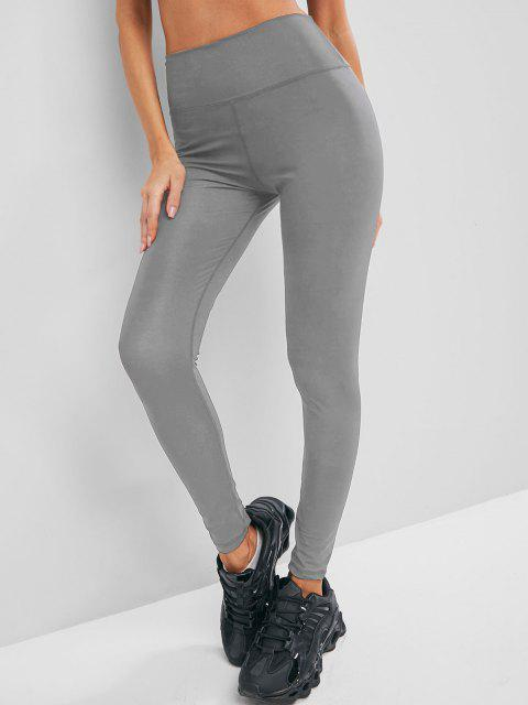 womens Solid Stitching High Waisted Sports Leggings - GRAY S Mobile