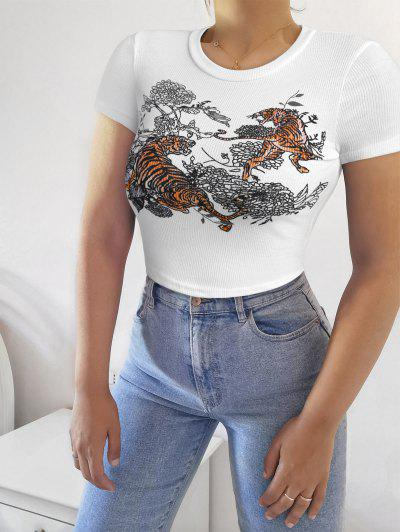 Tiger Floral Print Ribbed Crop Tee - White M