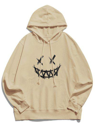 Happy Face Graphic Pouch Pocket Casual Hoodie - Light Coffee Xl