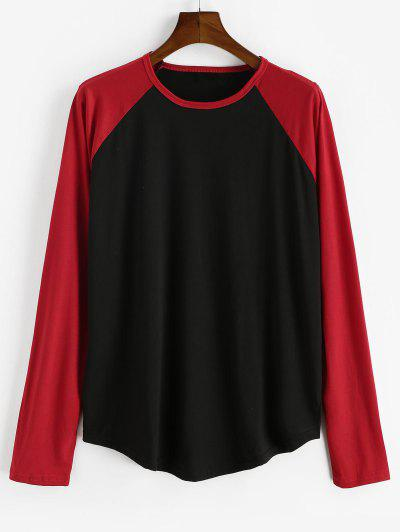 Raglan Sleeve Contrast Baseball T-shirt - Black 2xl