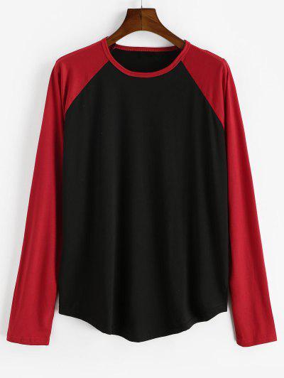Raglan Sleeve Contrast Baseball T-shirt - Black 3xl