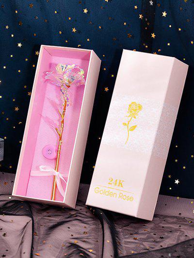 24K Foil Plated Artificial Rose Flower - Multi