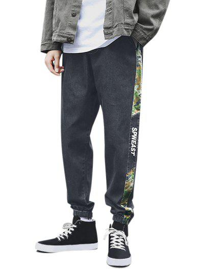 Camouflage Panel Letter Embroidery Jeans - Black Xs