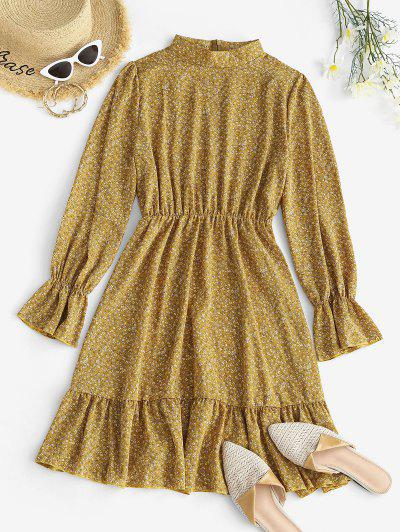 Ditsy Floral Ruffle Cuff Long Sleeve Dress - Light Yellow Xl