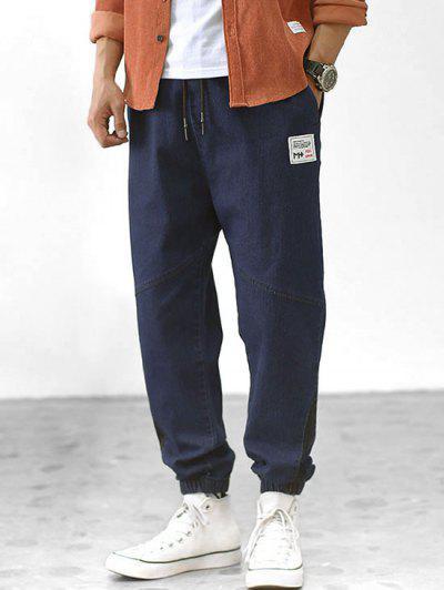 Colorblock Panel Casual Jogger Denim Pants - Denim Dark Blue M