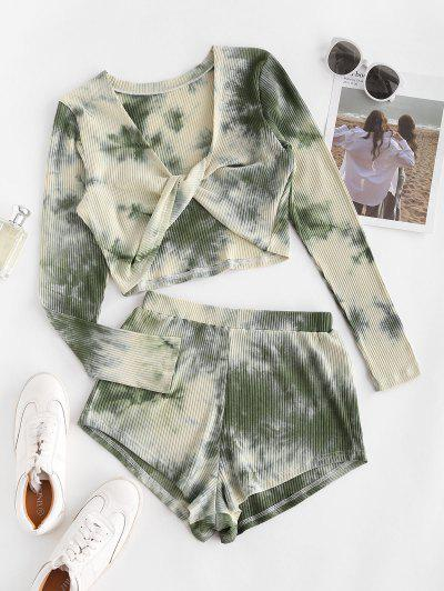 Twisted Front Tie Dye Ribbed Two Piece Set - Light Green S