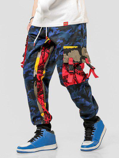Colorblock Camo Print Casual Drawstring Cargo Pants - Blue S