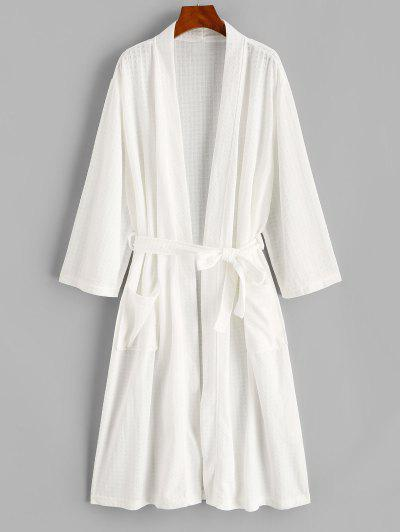 Belted Textured Dual Pocket Longline Robe - White M