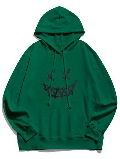 Happy Face Graphic Pouch Pocket Casual Hoodie - Deep Green Xl