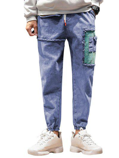 Colorblock Pockets Casual Jogger Jeans - Blue S