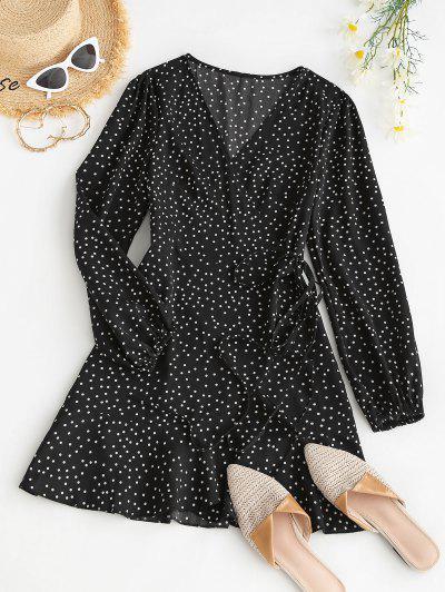 Polka Dot Ruffle Lantern Sleeve Wrap Dress - Black Xl