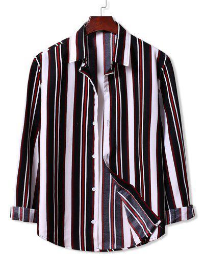 Colorblock Stripes Pattern Button Up Shirt - Black L