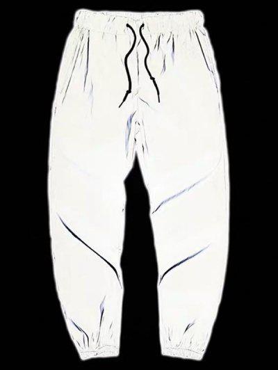 Drawstring Luminous Tapered Sports Pants - Light Gray M