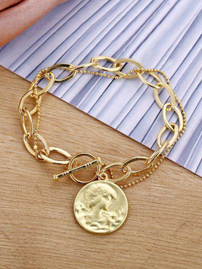 Portrait Coin Chain Bracelet - Golden