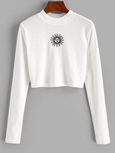 ZAFUL Crew Neck Sun Embroidered Crop Top - White M