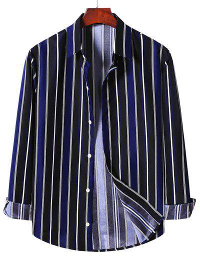 Stripe Button Up Shirt - Denim Dark Blue M