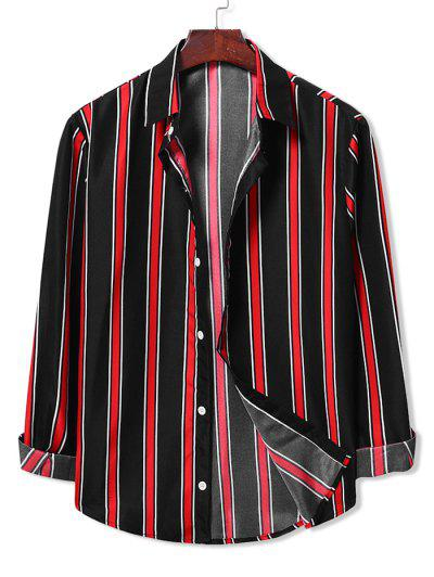 Long Sleeve Contrast Stripes Casual Shirt - Black 2xl