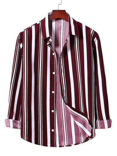 Button Up Striped Shirt - Red Wine 2xl