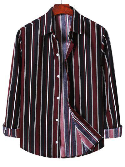 Stripe Button Up Shirt - Red Wine 2xl