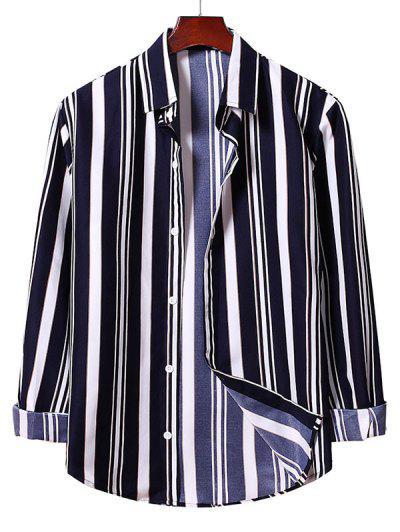 Button Up Striped Shirt - Denim Dark Blue Xl