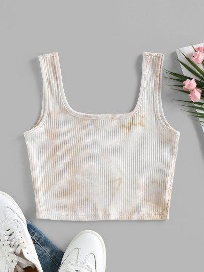 ZAFUL Basic Tie Dye Ribbed Crop Top - Apricot S