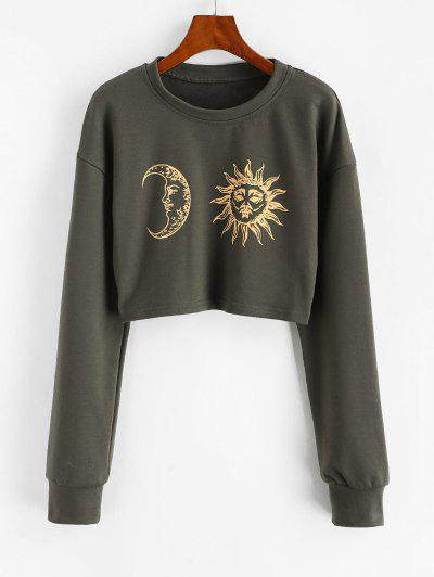 Sun Moon Print Cropped Sweatshirt - Gray Xl