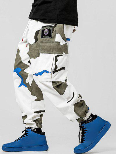 Letter Applique Camouflage Print Pockets Cargo Pants - Multi-a L