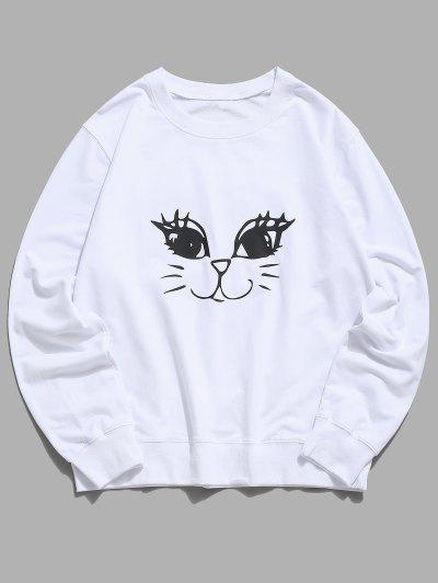 Cute Cat Graphic Lounge Crew Neck Sweatshirt - White M
