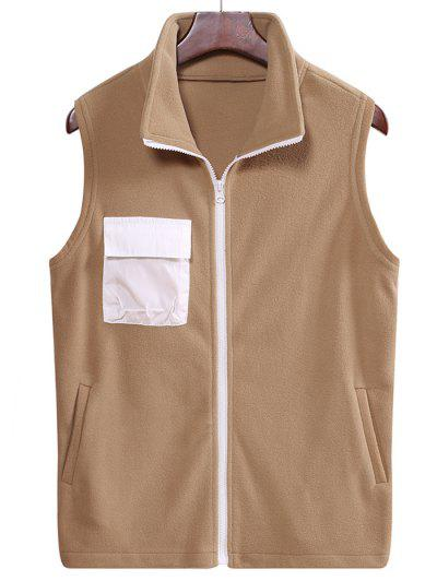 Fleece Zipper Pocket Vest - Camel Brown L