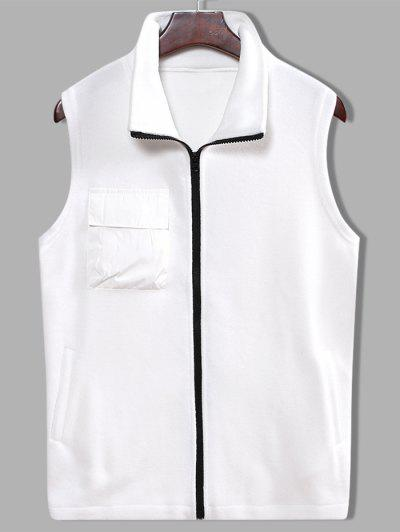 Fleece Zipper Pocket Vest - White Xl