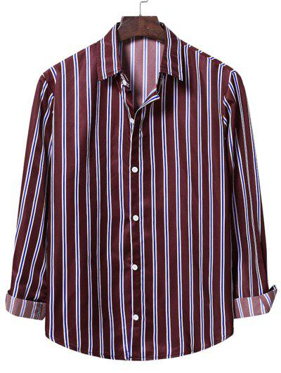 Casual Vertical Stripes Button Up Shirt - Red Wine S