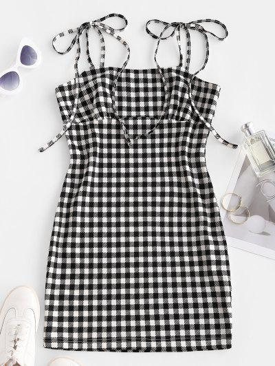 ZAFUL Checked Tie Shoulder Bodycon Dress - Black M