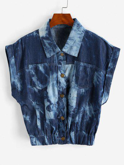 Tie Dye Chambray Pocket Cuffed Vest - Deep Blue M