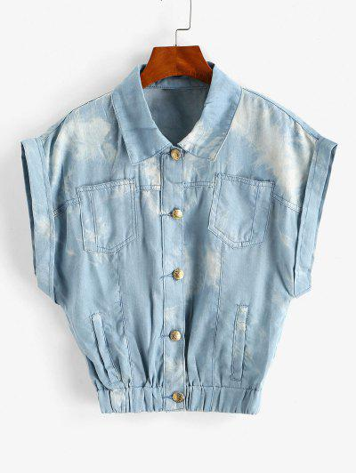Tie Dye Chambray Pocket Cuffed Vest - Light Blue M