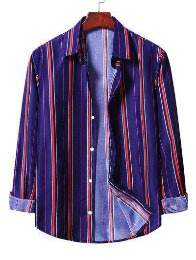 Casual Button Up Striped Shirt - Denim Dark Blue 2xl