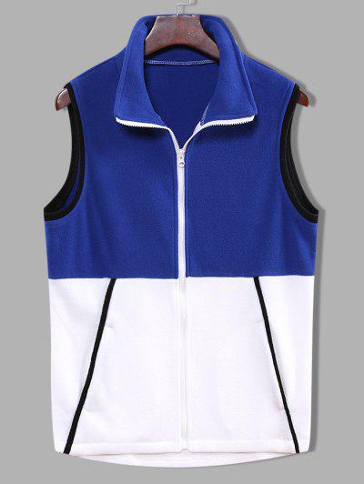 Colorblock Zipper Fleece Vest - Denim Dark Blue M